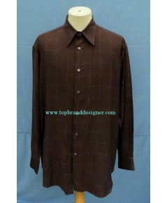 เสื้อเชิ้ต Salvatore Ferragamo Italy Men Used Designer Shirt Plaid XL