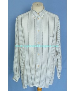 เสื้ออาร์มานี่ EMPORIO ARMANI Italy Men Used Designer Shirt Zigzag Stripes M
