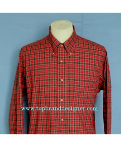 เสื้อเชิ้ตวินเทจ Vintage 80s SERO Men Shirt Long Sleeve Pima Cotton Plaid L