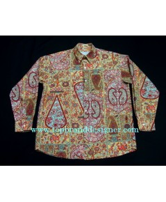 เสื้อผ้าเรยอง LE GARAGE France Men Used Designer Shirt Victorian Paisley Printed S