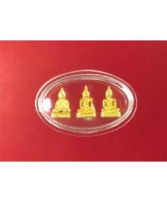 พระแก้วมรกต ทองคำ 3 องค์ 3 ฤดู วัดบวรนิเวศ พ.ศ.๒๕๓๘  ลอยองค์ พิมพ์จิ๋ว  เลี่ยมกันน้ำ  หนัก  5 กรัม