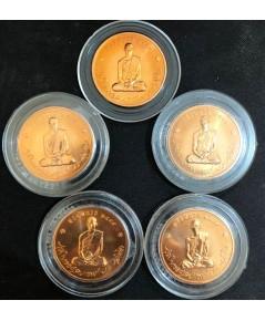 เหรียญทรงผนวช ในหลวงรัชกาลที่ 9 ปี 2550 วัดบวรนิเวศวิหาร เนื้อทองแดง จำนวน 5 เหรียญ งามๆ ราคาเบา ๆ