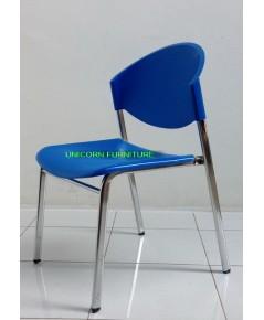 เก้าอี้โพลีโครงเหล็กแป๊ปรูปไข่ชุบเงา  รุ่น CP-03C