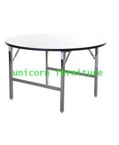 โต๊ะขาพับ โต๊ะพับ Conference table โครงขาเหล็ก ชุบโครเมียม แบบกลม หนา25มิล