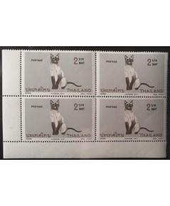 แสตมป์ชุดแมวไทย ปี 2514 ดวงราคา 2 บาท บล้อกสี่ ยังไม่ใช้ สภาพดีไทย แสตมป์เ่ก่า สวยน่าเก็บครับ