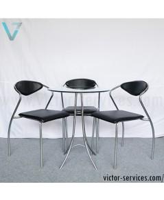 เช่าชุดโต๊ะ-เก้าอี้เบาะหนังเจรจา สีดำ