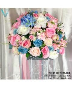 เช่าแสตนดอกไม้ สีฟ้า-ชมพู