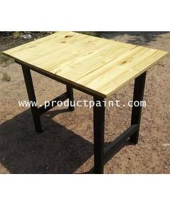 โต๊ะไม้สน ขาดำ