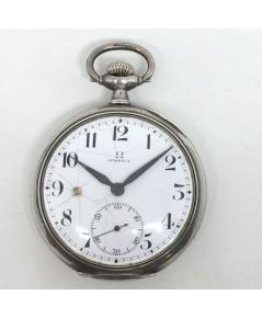 นาฬิกาพก pocket watch 1940 OMEGA หน้าปัดขาวกระเบื้องพิมพ์อารบิคดำ เดินเวลา 2 เข็มครึ่ง เข็มเหล็ก กระ