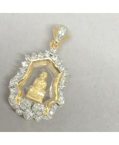 พระทองคำหลวงปู่ทวดฝังเพขรแท้ 41 เม็ด รวมน้ำหนัก 0.50 กะรัต ทอง 90 น้ำหนัก 6.3 กรัม ขนาด 1.6x3.1cm