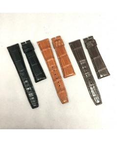 สายหนังจระเข้รุ่นหนาสปอร์ต งานสั่งตัด สีดำ, น้ำตาล, แทน เหมาะสำหรับนาฬิกาเรือนบางไม่เกิน 12 mm ที่ต้