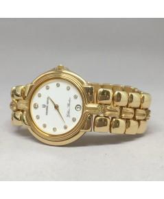 Universal Genève Golden Shadow Quartz 18k gold ขนาด for lady, unisex size 32mm หน้าปัดขาวประดับเพชรแ