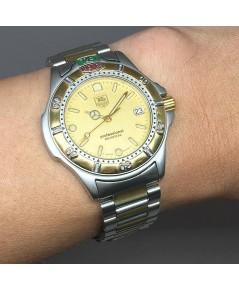 TAG HEUER S4000 Quartz date ขนาด 35mm หน้าปัดเหลืองทรายทอง บอกวันที่ตำแหน่ง 3 นาฬิกา กระจกแซฟไฟล์ ขอ