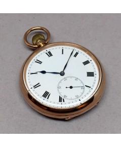นาฬิกาพกไขลาน pocket watch 1940 ทองคำขนาดตัวเรือน 50mm หน้าปัดกระเบื้องพิมพ์โรมันอดำ เดินเวลา 2 เข็ม