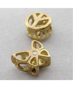 เม็ดลูกปัดทองคำ 9k รูปทรงผีเสื้อ และสวัสดิกะ ขนาด 9 mm สำหรับร้อยเข้าที่สร้อยคอทอง