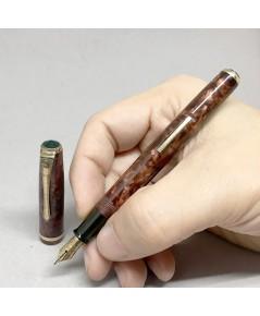 classic foutain JAPAN pen 14Kar ตัวด้ามเรซิ่นลายหินแดง ระบบก้านสปริงดึงหมึกที่ตัวด้าม ปากทอง 14k ขนา