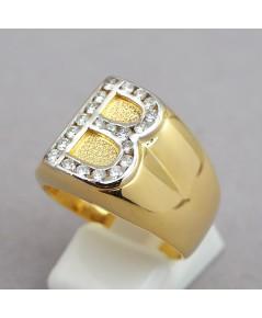แหวนทองคำรูปทรงตัว B ประดับเพชรแท้รวมน้ำหนัก 0.50 กะรัต ขนาดหน้าแหวน 16.5mm ตัวเรือนทองคำ 90 น้ำหนั