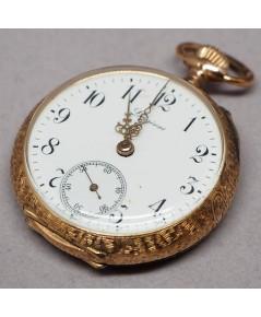 นาฬิกาพกทองคำ LONGINES Grand prix PARIS 1900 หน้าปัดกระเบื้องแท้พิมพ์อารบิคดำ เดินเวลาด้วยเข็มฉลุลาย