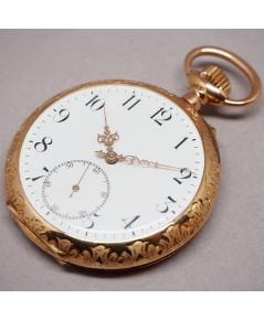 นาฬิกาพกทองคำยุคปี 1900 หน้าปัดกระเบื้องแท้พิมพ์อารบิคดำ เดินเวลาด้วยเข็มฉลุลาย 2 เข็มครึ่ง กระจกเซล