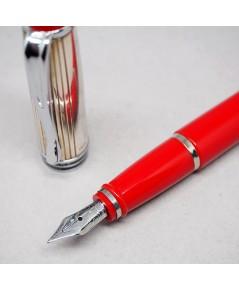 ปากกาหมึกซึม AURORA ITALY foutain pen ปลายปากเขียนไซร์ F ตัวเรือนแยกเป็น 2 วัสดุปลอกบน silver 925 ชุ