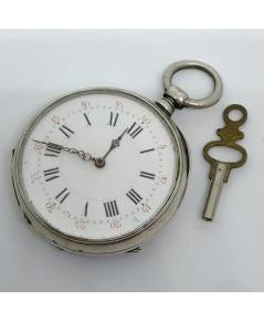 นาฬิกาพกไขลาน pocket watch 1900 ขนาดตัวเรือน 45 mm หน้าปัดกระเบื้องขาวพิมพ์โรมันดำ เดินเวลา 2 เข็มโร