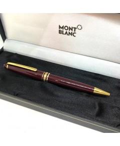 ปากกาหมึกแห้ง ball point montblanc meisterstuck classic ตัวด้ามโลหะเคลือบอครีลิคน้ำตาลแดง ชุดเหน็บโล