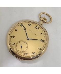 นาฬิกาพกไขลาน PATEK PHILIPPE pocket watch 1900 ขนาดตัวเรือน 47 mm หน้าปัดเหลืองทองพิมพ์อารบิคดำ เดิน