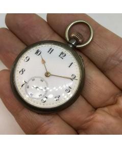 นาฬิกาพกไขลาน pocket watch 1900 ขนาดตัวเรือน 35 mm หน้าปัดกระเบื้องขาวพิมพ์อารบิคดำ เดินเวลา 2 เข็มค