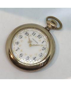 นาฬิกาพกไขลาน WALTHAM pocket watch 1950 ขนาดตัวเรือน 45 mm หน้าปัดกระเบื้องขาวพิมพ์อารบิคดำ สลับลวดล