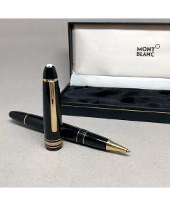 ปากกาเคมี MONTBLANC PEN meisterstuck roler ball ขนาด big size ระบบบิดเปิดไส้ ตัวเรือนดำอครีลิคประดับ