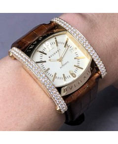 BVLGARI Assioma 18k Rose gold Full diamond สำหรับบุรุษ และสตรี หน้าปัดสีครีมประดับหลักเวลาขีดสลับอาร