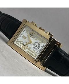 BVLGARI Rettangolo 18K Gold Quartz chronograph date ใส่ได้ทั้งชาย และหญิง size 28x47 mm หน้าปัดขาวปร