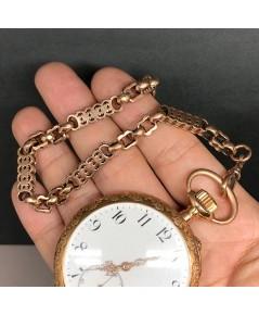 สร้อยทองชมพูสำหรับนาฬิกาพก Pocket Watch ITALY ลายใบเลื่อย Pink gold 9k (375) ลายกว้าง 6 mm ความยาวขอ
