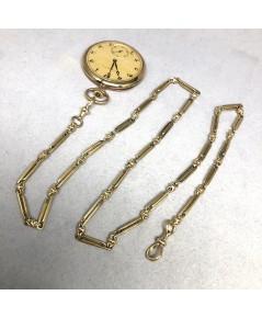 สร้อยทองสำหรับนาฬิกาพก Pocket Watch ITALY ลายโซ่ห่วงทรงยาว Yellow gold 9k (375) ล้องเรือนขนาดลายกว้า