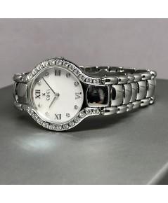 EBEL Beluga Diamond Quartz ขนาด 27mm หน้าปัดมุขแท้ประดับเพชรแท้ที่หลักเวลา 8 เม็ด สลับเลขโรมันเงินเง