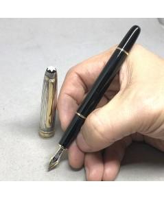 MONTBLANC Fountain Pen 144 2-tone ปากทอง 18k ขนาดไลน์เส้นใหญ่ BB วัสดุตัวด้าม Silver Stering 925 / B
