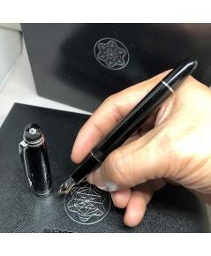 MONTBLANC Diamond Meisterstück Spacial ปากเขียนเป็นทอง 14k วัสดุตัวเรือนอครีลิคดำ ชุดเหน็บและชิ้นประ