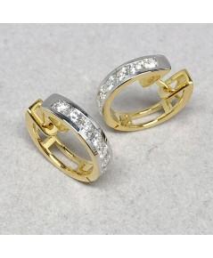 ต่างหูทองคำฝังเพชรแท้ 14 เม็ด รวมน้ำหนัก 0.60 กะรัต น้ำขาว G-color ไฟดี ไม่มีตำหนิ ตัวเรือนทอง 90 ร