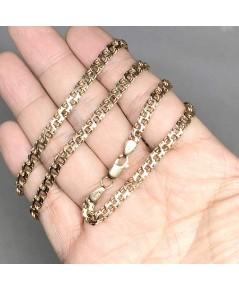 สร้อยคอ ITALY Pink gold ตัวเรือนทอง 14k 585 ใส่ได้ทั้งชาย หญิง ลายตัวไขว้ งานแปลก ขนาดลายกว้าง 5mm
