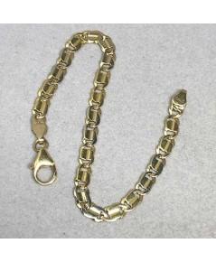 สร้อยข้อมือ Yellow gold ตัวเรือนทอง 18k 750 ใส่ได้ทั้งชาย หญิง ลายตัวเอส ขนาดลายกว้าง 4mm ตะขอใหญ่