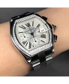 CARTIER Roadster Diamond chronograph automatic ใส่ได้ทั้งชาย, หญิง ขนาดตัวเรือน  42x48mm หน้าปัดเงิน
