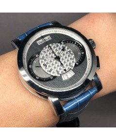 PAUL PICOT Technograph Limited 007/200 auto chronograph ขนาด Man size 44mm หน้าปัดเทาสลับลายโลหะขัดเ