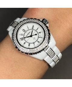 CHANEL J12 Whtie Ceramic Diamond Lady size 33mm หน้าปัดขาวประดับหลักเวลาอารบิค เดินเวลา 3 เข็ม กระจก