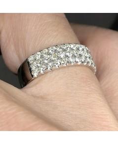 แหวนทองคำขาว ฝังเพชรแท้เหลี่ยมเกสร 54 เม็ด รวมน้ำหนัก 1.22 กะรัต น้ำขาว 97-98 ตัวเรือนทองคำขาว18k 75