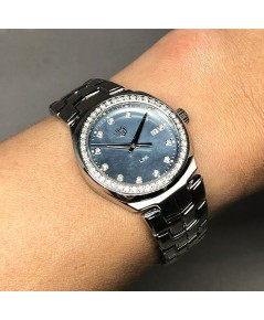 TAG HEUER New Link Mother\'s Pearl full Diamonds สำหรับสตรี ขนาดตัวเรือน 32mm หน้าปัดมุกฟ้าประดับเพช
