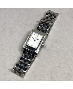 LONGINES DolceVita Diamond Quartz Lady size 15x25 mm หน้าปัดขาวประดับหลักเวลาขีดเงินเงา เดินเวลา 2 เ