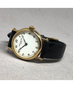 PATEK PHILIPPE 4860 Calatrava Lady watch 26mm หน้าปัดขาวพิมพ์อารบิคดำ เดินเวลา 2 เข็ม ระบบการทำงานไข