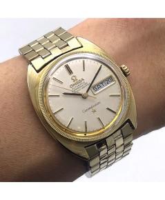 OMEGA Costellation date 1968 chronometer 18k gold plate ขนาด 35mm หน้าปัดบรอนซ์เงิน ประดับหลักเวลาขี