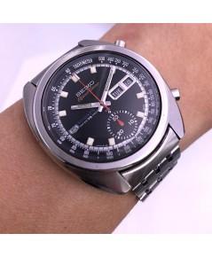 SEIKO 5 Sport Speedtimer automatic cronograph ปี 1969 ขนาด man size 39x44mm หน้าปัดดำประดับหลักเวลาข