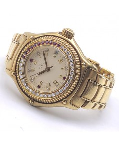 EBEL Discover Diamond gold สำหรับสตรี ขนาดตัวเรือน 28.5 mm หน้าปัดสีครีมประดับเพชรคู่หลักเวลาโรมัน บ